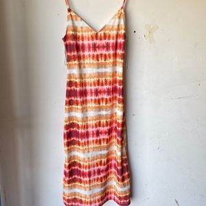 Zara small tie dye midi dress orange red v neck